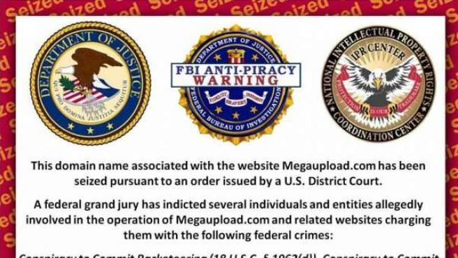 Captura del aviso del FBI que se ve cuando se entra en Megaupload.org