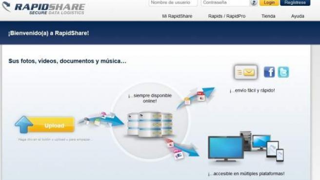Captura del portal de intercambio de archivos Rapidshare.