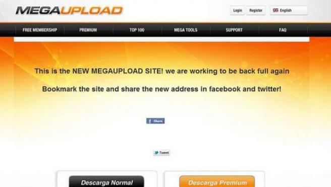 "Imagen del Megaupload falso que se hace llamar ""New Megaupload""."