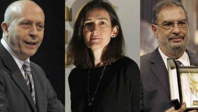 De i a d: José Ignacio Wert, Ángeles González-Sinde y Enrique González Macho.