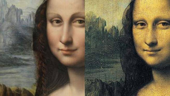 'La Gioconda', de Leonardo da Vinci, y su copia (i) en el Museo del Prado.