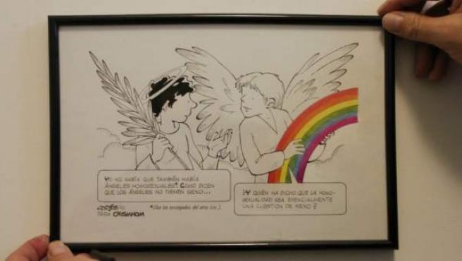 Viñeta sobre la homosexualidad de los Ángeles, en la sede de la asociación Crismhom.
