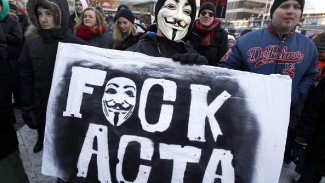 Manifestación contra el ACTA en Suecia, país donde también se prevé la ratificación del tratado.