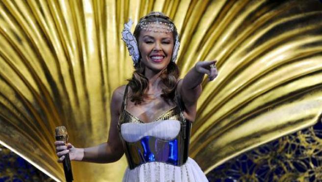 La cantante australiana Kylie Minogue durante una actuación en Zurich, Suiza.
