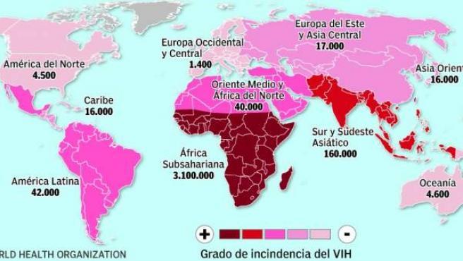 El mapa del sida infantil.