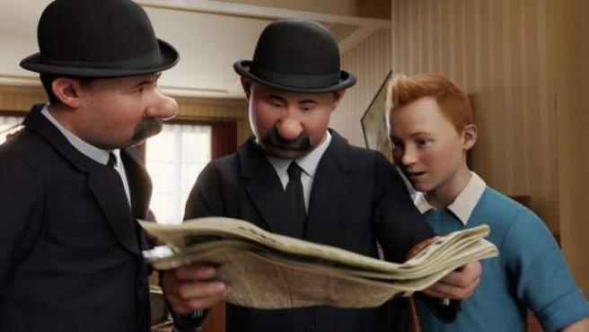 Tintín con los agentes secretos Hernández y Fernández.