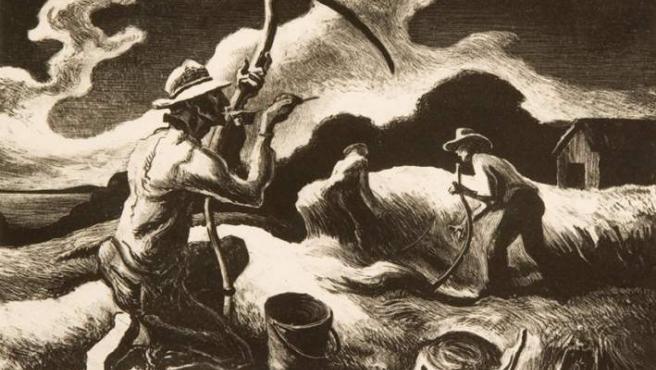 Litografía de Thomas Hart Benton, pintor y grabador regionalista