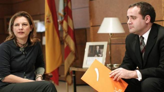 La delegada del Gobierno en la Comunidad Valenciana, Paula Sánchez de León, se ha reunido esta manana con el secretario general del PSPV-PSOE, Jorge Alarde.