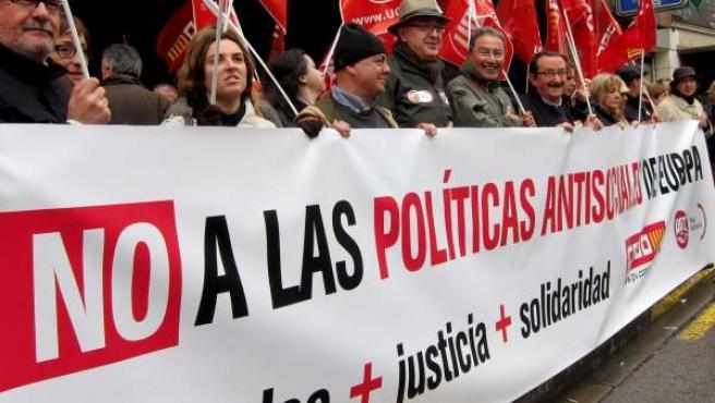 Concentración Contra Las Políticas Antisociales Europeas En Valencia.