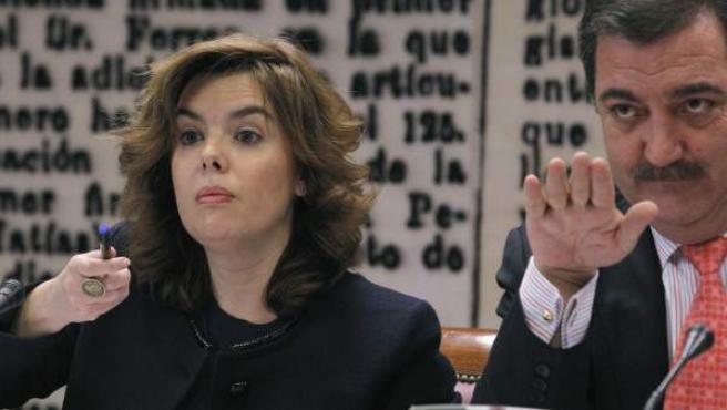 La vicepresidenta del Gobierno, Soraya Sáenz de Santamaría, durante su comparecencia.