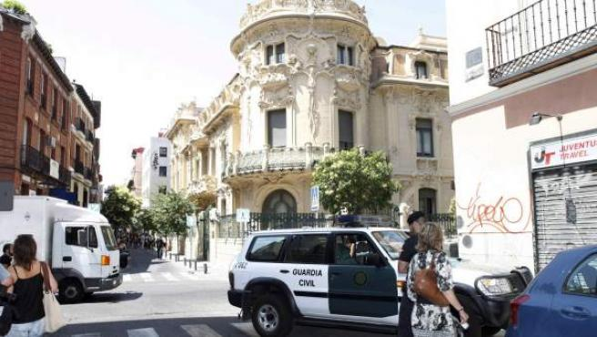 Una imagen de la sede de la SGAE, durante el registro por parte de la Guardia Civil.