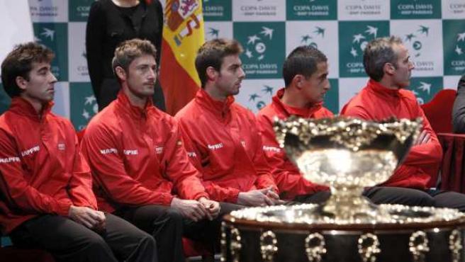 El equipo español de la Copa Davis antes de la eliminatoria ante Kazajistán.