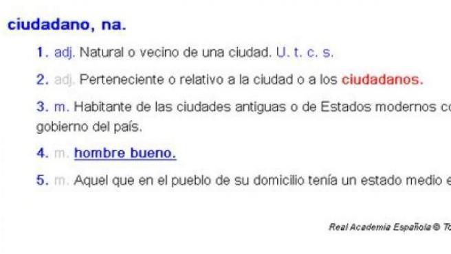 Definición de ciudadano que ofrece en su diccionario la Real Academia de la Lengua (RAE).