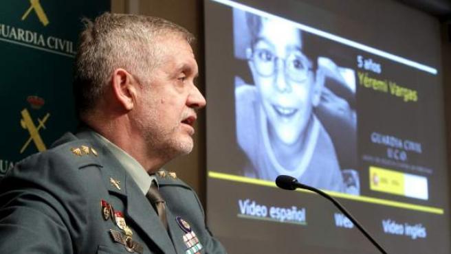 El teniente coronel Manuel Llamas, durante la rueda ofrecida para aportar nuevos datos sobre la investigación seguida en el caso de Yeremi Vargas, cuando se cumplen cinco años de su desaparición.
