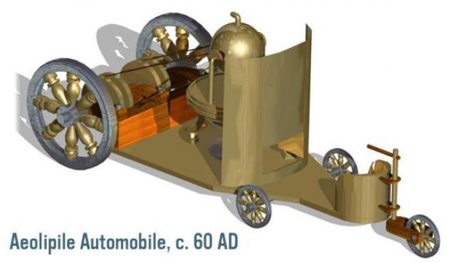 Imagen de lo que podría haber sido el primer automóvil griego basado en la eolípila.