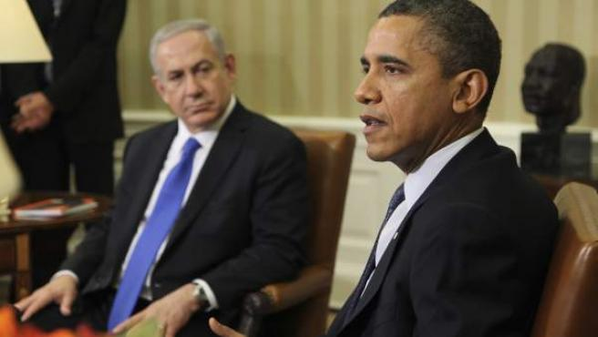 El presidente de Estados Unidos, Barack Obama (d), durante su reunión con el primer ministro israelí, Benjamín Netanyahu.