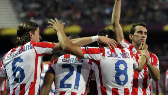 El Atlético celebra un gol ante el Besiktas.