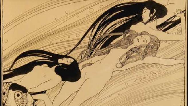 Ilustración de Klimt realizada entre 1897 y 1898