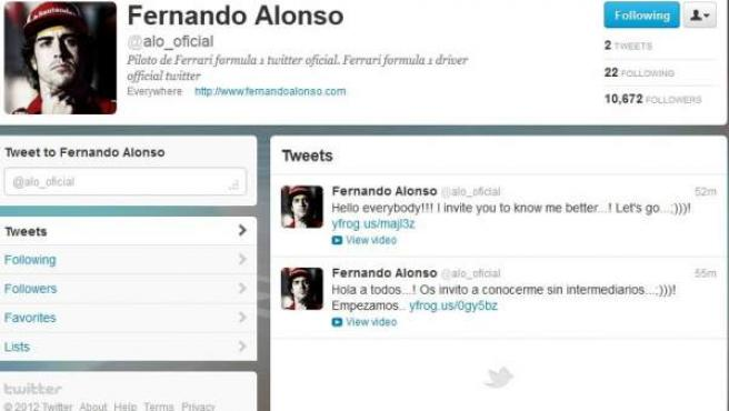 Fernando Alonso se ha abierto una cuenta en la red social 'Twitter'.