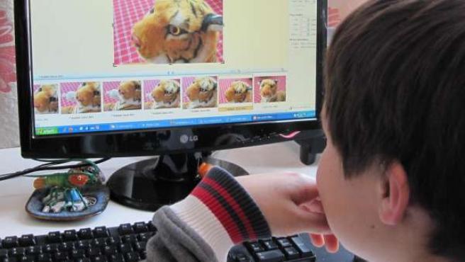 Un niño delante de un ordenador.