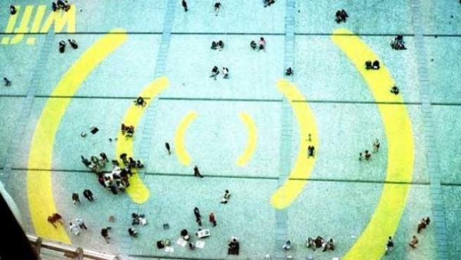 Señal Wi-Fi dibujada en el suelo.