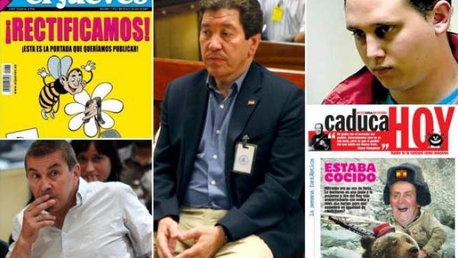 Portada de 'El jueves' que suplió a la secuestrada; José Antonio Barroso, Moisés Rivas, Otegi y portada de 'Deia' (de izda. a dcha y de arriba abajo).