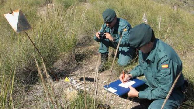 Agentes Del Seprona Inspeccionan Lazos De Acero Para Caza