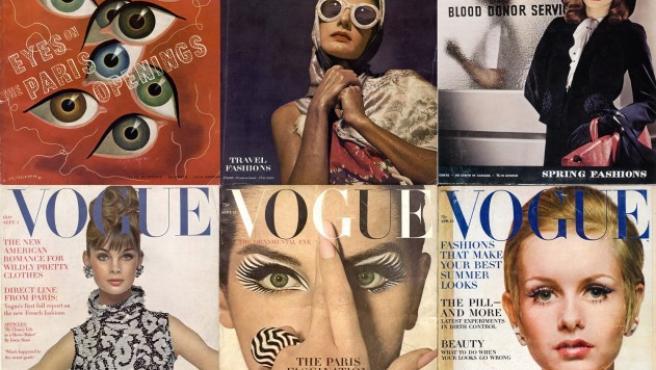 Cubiertas de las revistas en las que trabajó Vreeland. Arriba, a la derecha, la primera aparición de Lauren Bacall