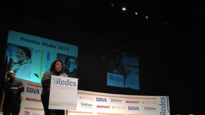 Virginia Pérez Alonso, directora adjunta de 20minutos.es, agradeciendo el premio.