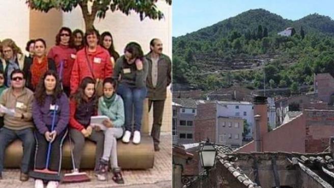 Combo de fotografías de los ayuntamientos de Higuera de la Serena, en Badajoz (imágenes de la izquierda) y de Rasquera, en Tarragona.