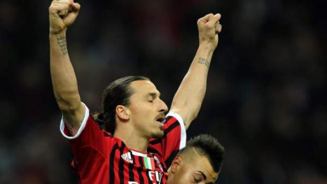 Ibrahimovic celebra uno de sus dos goles ante la Roma.