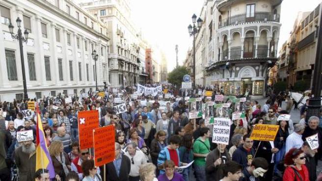 El movimiento 15M se manifiesta en Andalucía durante la semana previa a las elecciones del domingo 25 de marzo.
