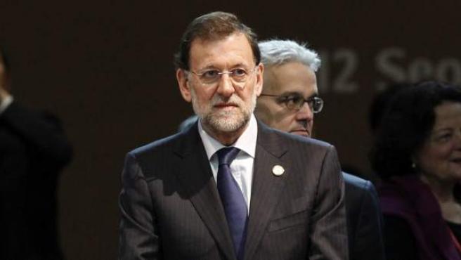 El presidente del Gobierno español, Mariano Rajoy, al comienzo de la sesión plenaria de la II Cumbre de Seguridad Nuclear de Seúl.