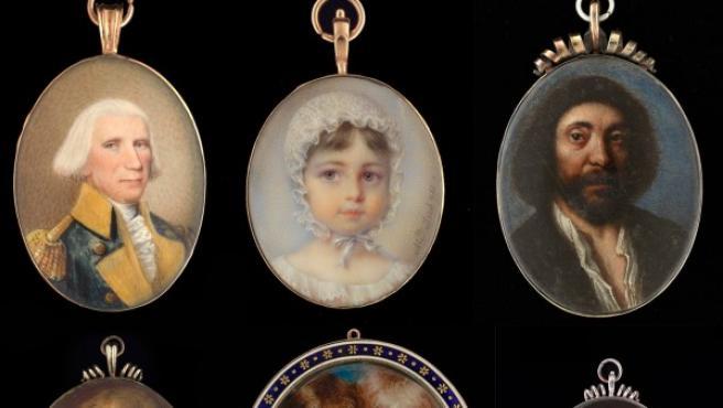 Algunos de los retratos en miniatura que se exponen en Londres