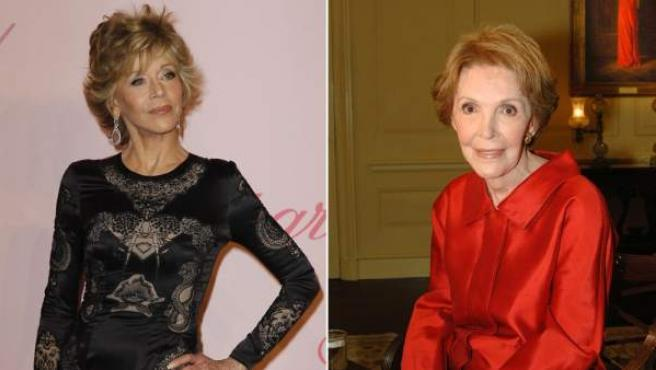 Jane Fonda (izda.) encarnará a Nancy Reagan (dcha.) en la pantalla.