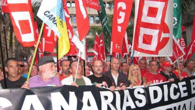 Manifestación Huelga General En Santa Cruz De Tenerife