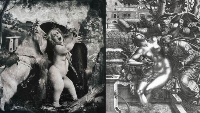 A la izquierda 'Daphné et Apollon' (1990), una foto de Witkin. A la derecha, 'el grabado 'La Chaste Suzanne', de René Boyvin (entre 1525 y 1625)