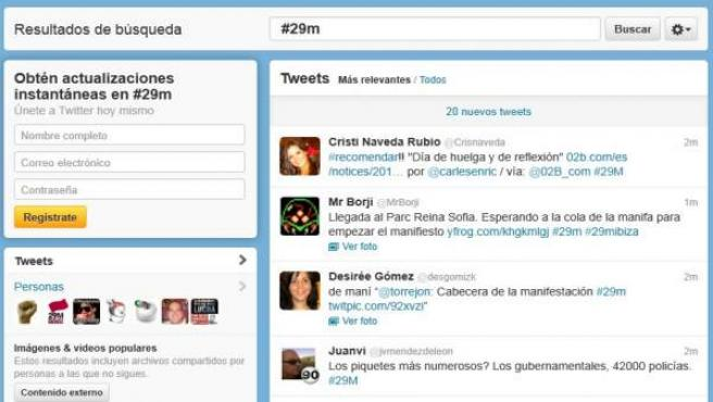 Una imagen de la red social Twitter, durante la jornada de la Huelga General del 29-M.