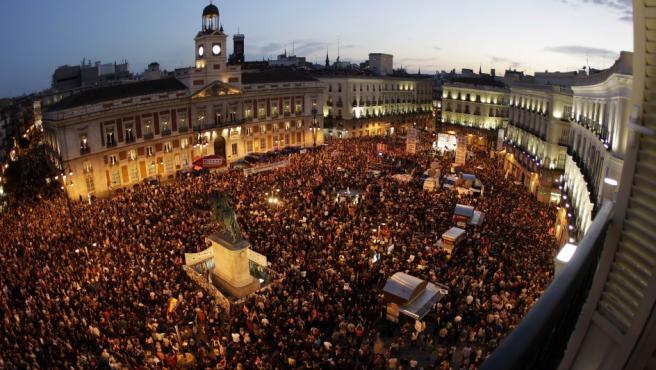 Imagen del fin de la manifestación en Madrid el día de la huelga general.