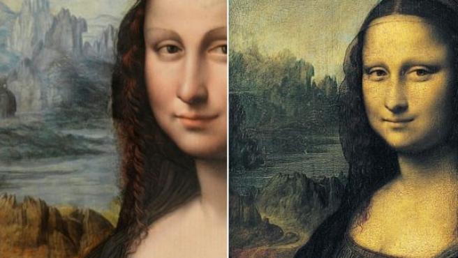 A la izquierda, la restaurada copia de la Mona Lisa del Museo del Prado; a la derecha, la original de Leonardo Da Vinci en el Louvre.