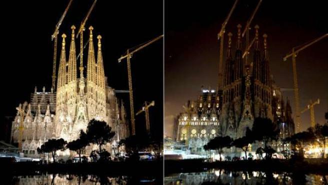 Combo de imágenes de la Sagrada Familia de Barcelona antes (i) y durante 'La Hora del Planeta' en 2011.