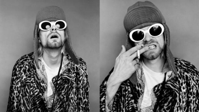Montaje con dos de los retratos de Cobain de Jesse Frohman