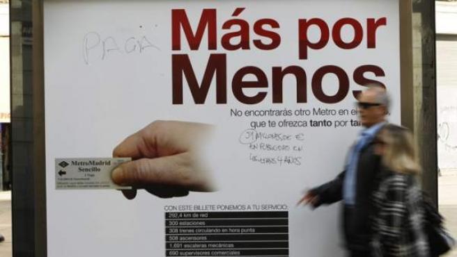 Detalle de la polémica campaña de Metro a principios de 2012.