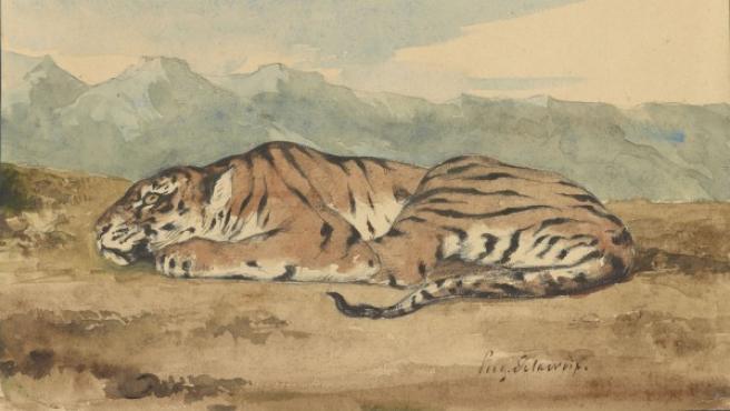 Delacroix utilizó acuarela, lápiz y tinta para este dibujo de un tigre