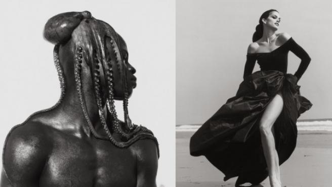 Montaje de tres de las fotos de Herb Ritts que se exponen en Los Ángeles