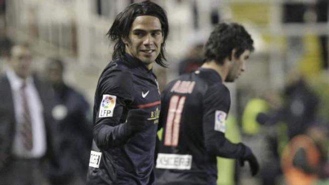 Radamel Falcao celebra un gol con el Atlético de Madrid.