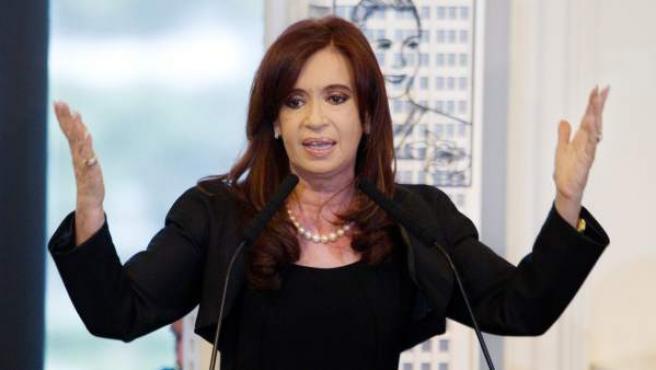 La presidenta de Argentina, Cristina Fernández de Kirchner, durante su discurso.