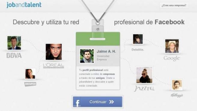 Captura de la web de Jobandtalent, aplicación que enlaza perfiles profesionales de Facebook.
