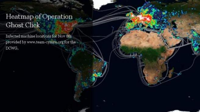 Captura del mapa sobre la extensión del ataque informático en masa que puede dejar sin conexión a los internautas en julio.