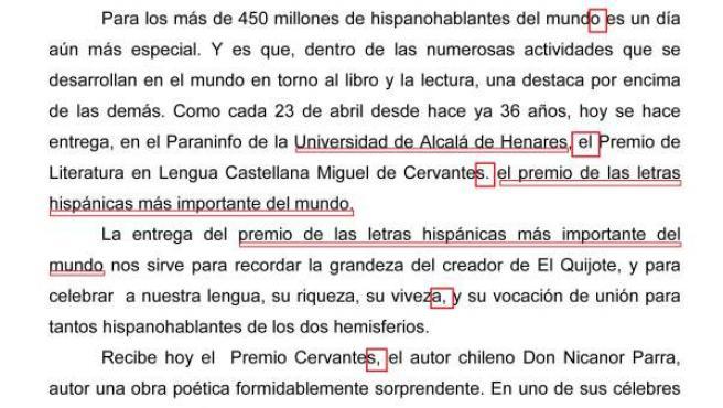 Detalle de la carta del ministro Wert con varios errores gramaticales.